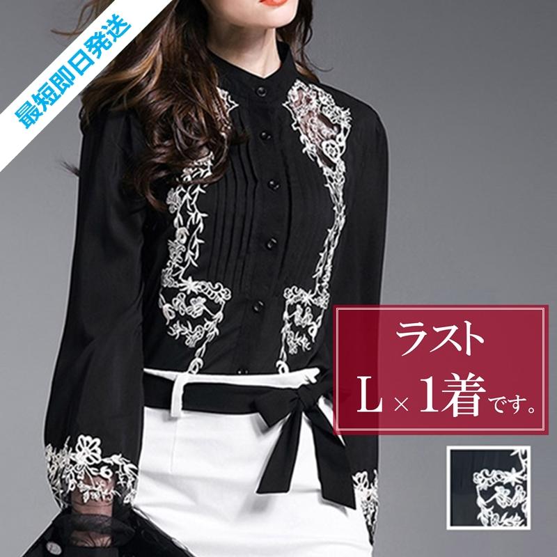 「凛と着こなす♪」黒地に刺繍が映える☆知的ブラウス 夏 春 PTX8814の写真1枚目