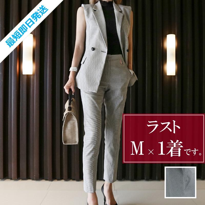 【即納】韓国 ファッション パンツ セットアップ パーティードレス 結婚式 お呼ばれドレス 春 夏 パーティー ブライダル SPTX9206  ノースリーブジャケット テーパ 二次会 セレブ きれいめの写真1枚目