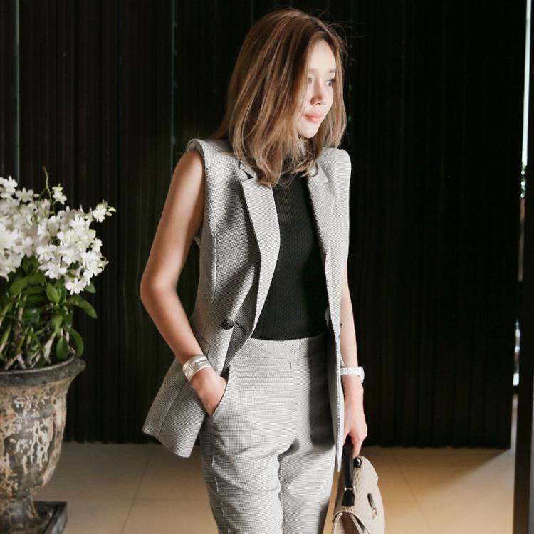 【即納】韓国 ファッション パンツ セットアップ パーティードレス 結婚式 お呼ばれドレス 春 夏 パーティー ブライダル SPTX9206  ノースリーブジャケット テーパ 二次会 セレブ きれいめの写真2枚目