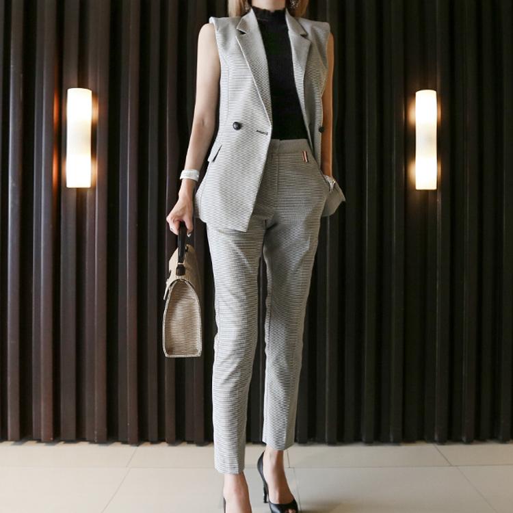 【即納】韓国 ファッション パンツ セットアップ パーティードレス 結婚式 お呼ばれドレス 春 夏 パーティー ブライダル SPTX9206  ノースリーブジャケット テーパ 二次会 セレブ きれいめの写真4枚目