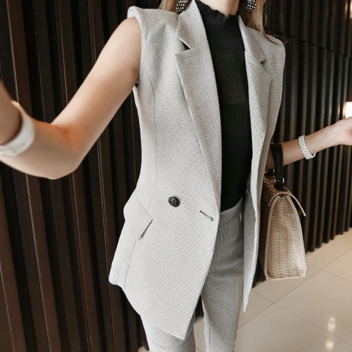 【即納】韓国 ファッション パンツ セットアップ パーティードレス 結婚式 お呼ばれドレス 春 夏 パーティー ブライダル SPTX9206  ノースリーブジャケット テーパ 二次会 セレブ きれいめの写真5枚目