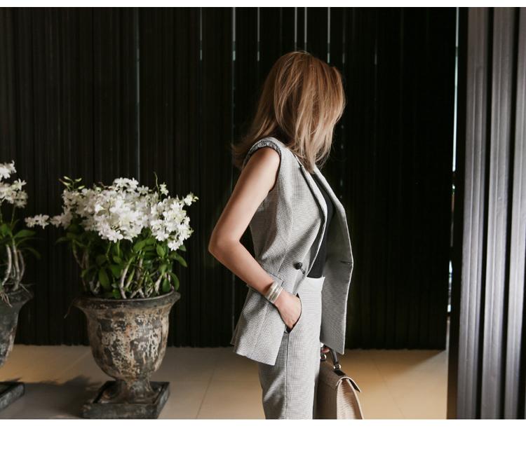 【即納】韓国 ファッション パンツ セットアップ パーティードレス 結婚式 お呼ばれドレス 春 夏 パーティー ブライダル SPTX9206  ノースリーブジャケット テーパ 二次会 セレブ きれいめの写真7枚目