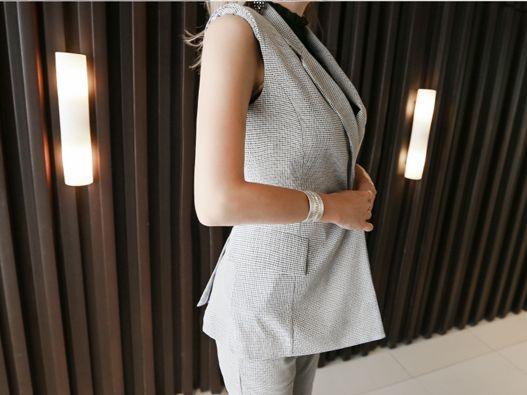 【即納】韓国 ファッション パンツ セットアップ パーティードレス 結婚式 お呼ばれドレス 春 夏 パーティー ブライダル SPTX9206  ノースリーブジャケット テーパ 二次会 セレブ きれいめの写真8枚目