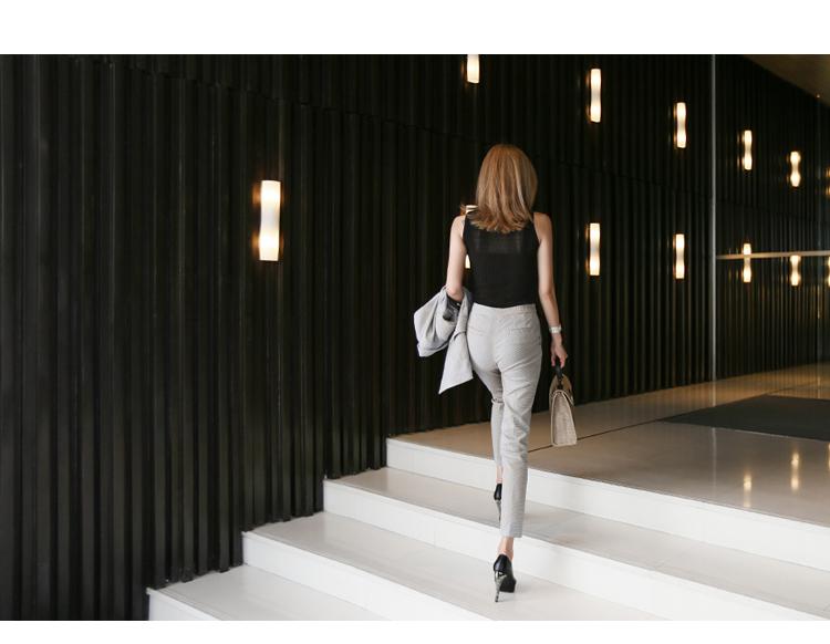 【即納】韓国 ファッション パンツ セットアップ パーティードレス 結婚式 お呼ばれドレス 春 夏 パーティー ブライダル SPTX9206  ノースリーブジャケット テーパ 二次会 セレブ きれいめの写真9枚目