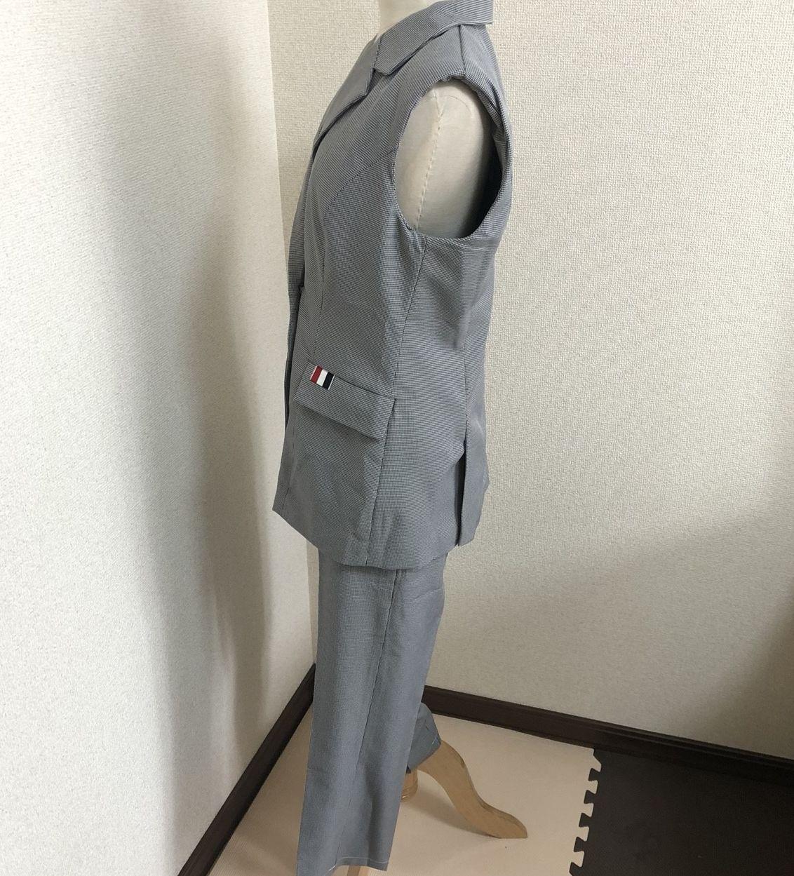 【即納】韓国 ファッション パンツ セットアップ パーティードレス 結婚式 お呼ばれドレス 春 夏 パーティー ブライダル SPTX9206  ノースリーブジャケット テーパ 二次会 セレブ きれいめの写真12枚目