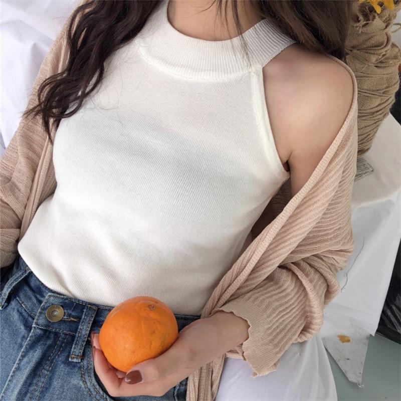 韓国 ファッション トップス Tシャツ カットソー 夏 春 カジュアル PTXA192  ホルターネック アメリカンスリーブ ベーシック リブニット タンクトップ オルチャン シンプル 定番 セレカジの写真2枚目