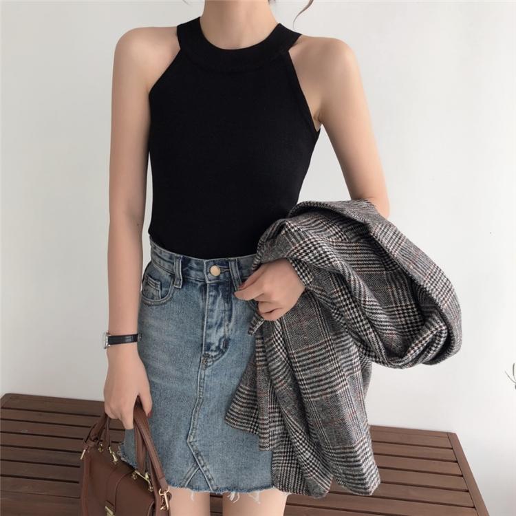 韓国 ファッション トップス Tシャツ カットソー 夏 春 カジュアル PTXA192  ホルターネック アメリカンスリーブ ベーシック リブニット タンクトップ オルチャン シンプル 定番 セレカジの写真3枚目