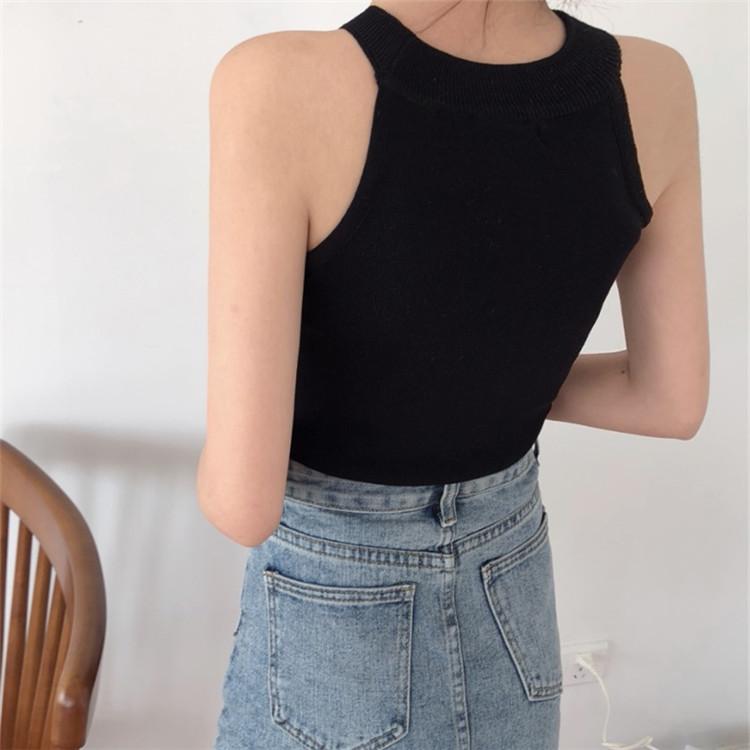 韓国 ファッション トップス Tシャツ カットソー 夏 春 カジュアル PTXA192  ホルターネック アメリカンスリーブ ベーシック リブニット タンクトップ オルチャン シンプル 定番 セレカジの写真14枚目