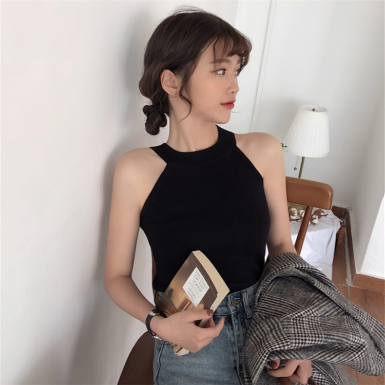 韓国 ファッション トップス Tシャツ カットソー 夏 春 カジュアル PTXA192  ホルターネック アメリカンスリーブ ベーシック リブニット タンクトップ オルチャン シンプル 定番 セレカジの写真15枚目