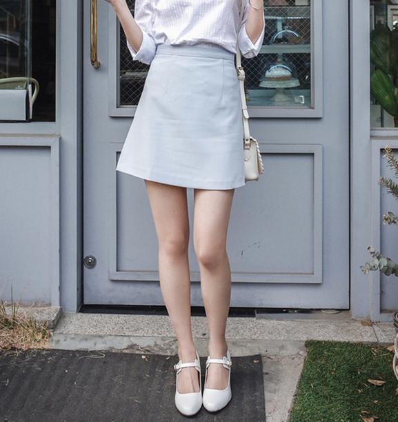 韓国 ファッション スカート ミニ ボトムス 夏 春 カジュアル PTXA271  台形スカート セミフレアスカート ストリート ベーシック オルチャン シンプル 定番 セレカジの写真2枚目