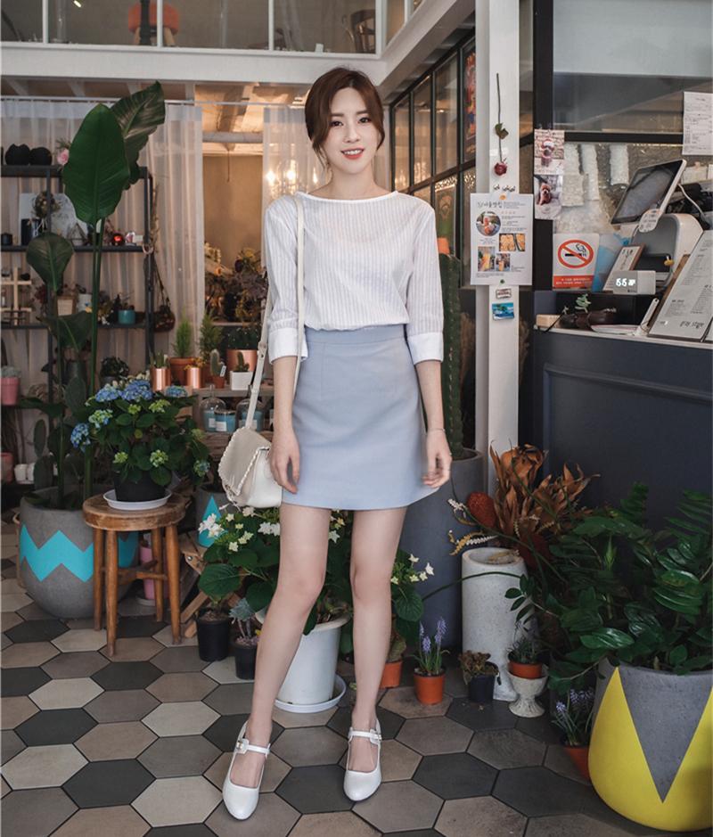 韓国 ファッション スカート ミニ ボトムス 夏 春 カジュアル PTXA271  台形スカート セミフレアスカート ストリート ベーシック オルチャン シンプル 定番 セレカジの写真3枚目