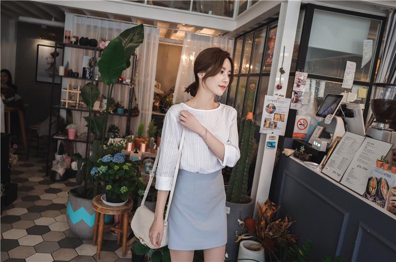 韓国 ファッション スカート ミニ ボトムス 夏 春 カジュアル PTXA271  台形スカート セミフレアスカート ストリート ベーシック オルチャン シンプル 定番 セレカジの写真8枚目
