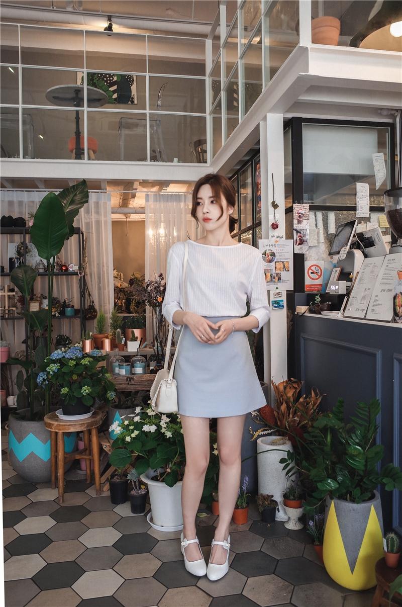 韓国 ファッション スカート ミニ ボトムス 夏 春 カジュアル PTXA271  台形スカート セミフレアスカート ストリート ベーシック オルチャン シンプル 定番 セレカジの写真9枚目