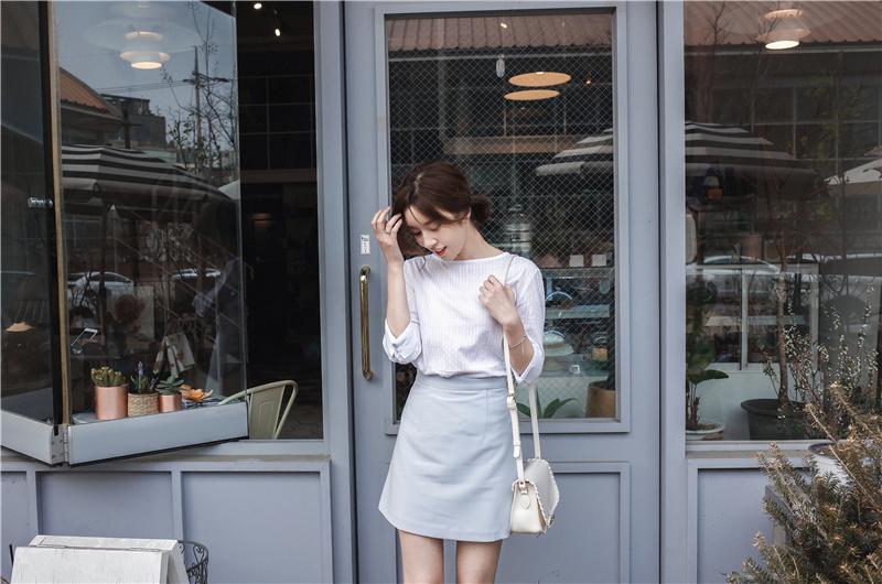 韓国 ファッション スカート ミニ ボトムス 夏 春 カジュアル PTXA271  台形スカート セミフレアスカート ストリート ベーシック オルチャン シンプル 定番 セレカジの写真10枚目