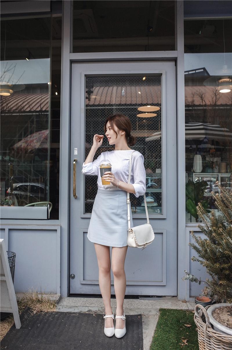 韓国 ファッション スカート ミニ ボトムス 夏 春 カジュアル PTXA271  台形スカート セミフレアスカート ストリート ベーシック オルチャン シンプル 定番 セレカジの写真11枚目