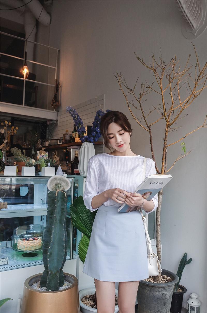 韓国 ファッション スカート ミニ ボトムス 夏 春 カジュアル PTXA271  台形スカート セミフレアスカート ストリート ベーシック オルチャン シンプル 定番 セレカジの写真12枚目