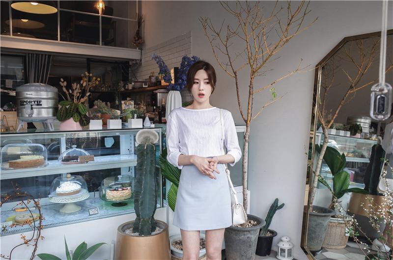 韓国 ファッション スカート ミニ ボトムス 夏 春 カジュアル PTXA271  台形スカート セミフレアスカート ストリート ベーシック オルチャン シンプル 定番 セレカジの写真13枚目