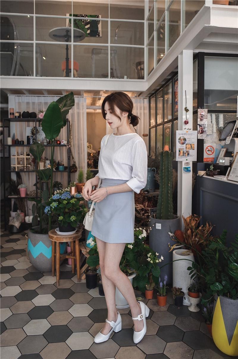 韓国 ファッション スカート ミニ ボトムス 夏 春 カジュアル PTXA271  台形スカート セミフレアスカート ストリート ベーシック オルチャン シンプル 定番 セレカジの写真14枚目