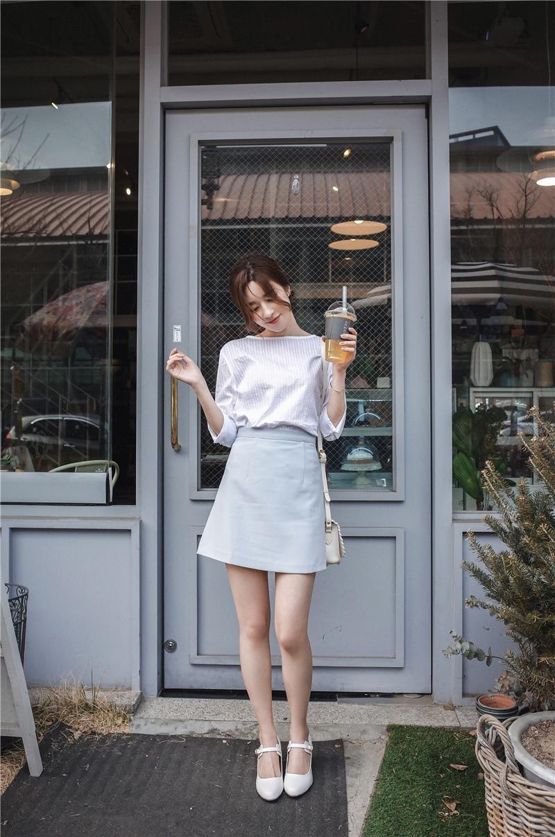 韓国 ファッション スカート ミニ ボトムス 夏 春 カジュアル PTXA271  台形スカート セミフレアスカート ストリート ベーシック オルチャン シンプル 定番 セレカジの写真15枚目
