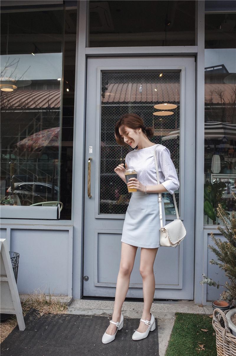 韓国 ファッション スカート ミニ ボトムス 夏 春 カジュアル PTXA271  台形スカート セミフレアスカート ストリート ベーシック オルチャン シンプル 定番 セレカジの写真17枚目