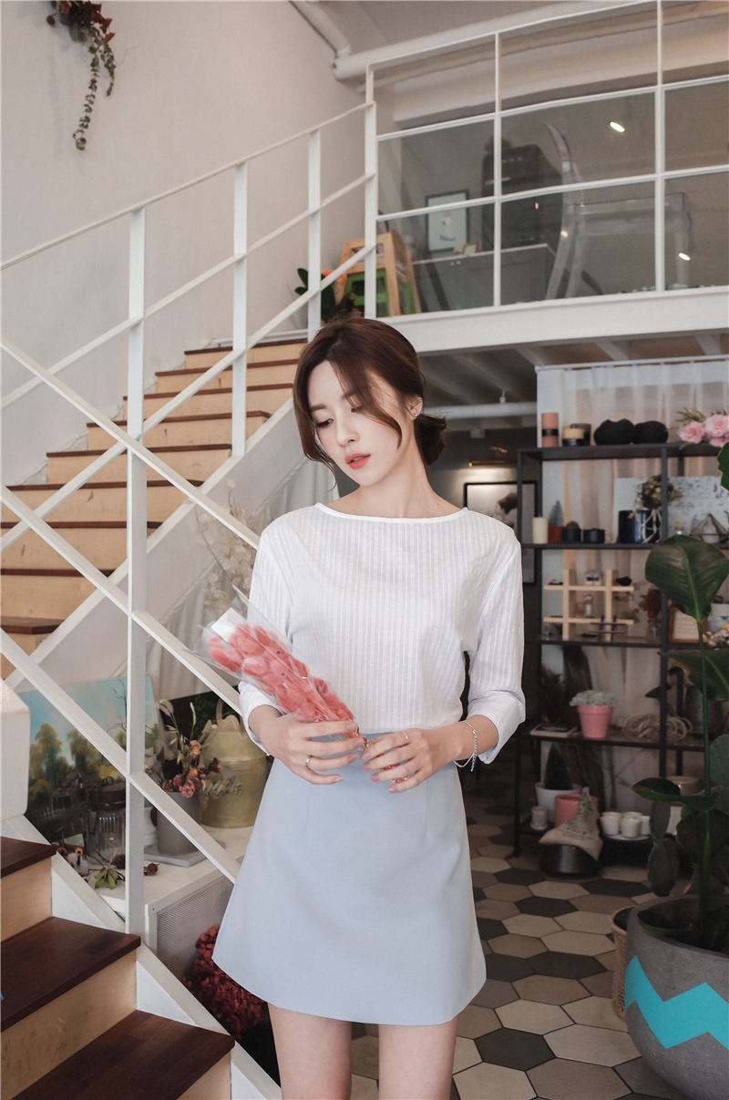 韓国 ファッション スカート ミニ ボトムス 夏 春 カジュアル PTXA271  台形スカート セミフレアスカート ストリート ベーシック オルチャン シンプル 定番 セレカジの写真18枚目