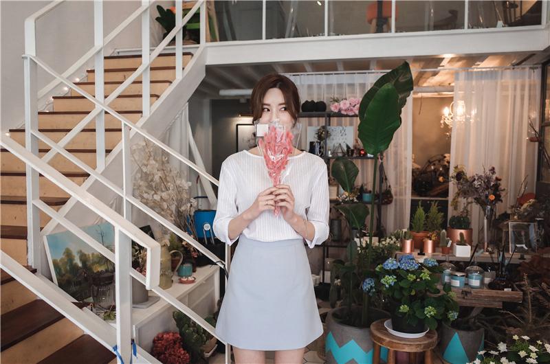 韓国 ファッション スカート ミニ ボトムス 夏 春 カジュアル PTXA271  台形スカート セミフレアスカート ストリート ベーシック オルチャン シンプル 定番 セレカジの写真19枚目