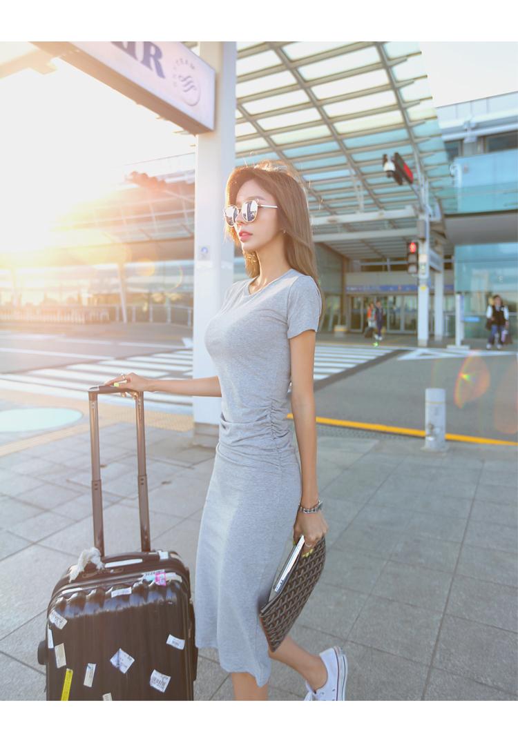 【即納】韓国 ファッション ワンピース 春 夏 カジュアル SPTXA748  リゾートワンピース ハワイ Tシャツ Tワンピ カットソー スポーティー ストリー オルチャン シンプル 定番 セレカジの写真4枚目