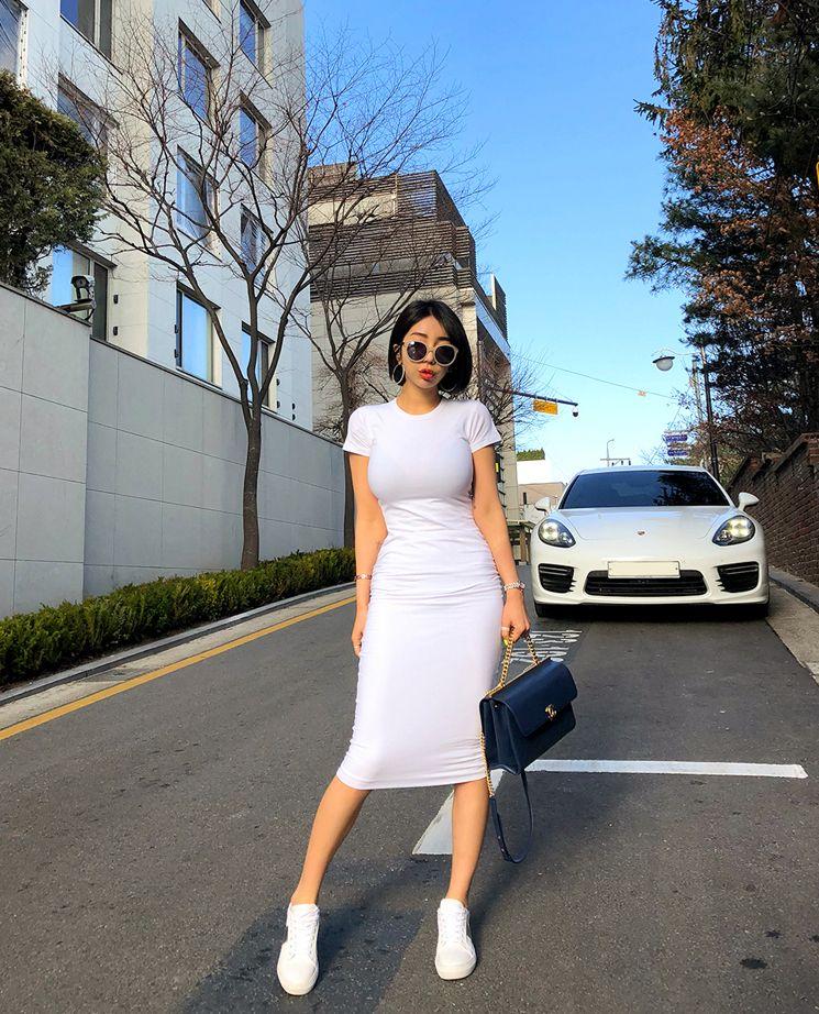 【即納】韓国 ファッション ワンピース 春 夏 カジュアル SPTXA748  リゾートワンピース ハワイ Tシャツ Tワンピ カットソー スポーティー ストリー オルチャン シンプル 定番 セレカジの写真6枚目