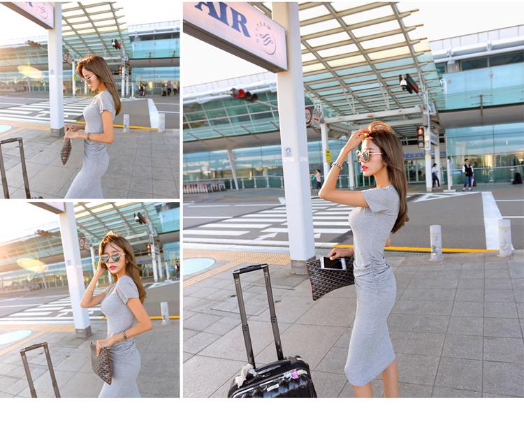 【即納】韓国 ファッション ワンピース 春 夏 カジュアル SPTXA748  リゾートワンピース ハワイ Tシャツ Tワンピ カットソー スポーティー ストリー オルチャン シンプル 定番 セレカジの写真20枚目