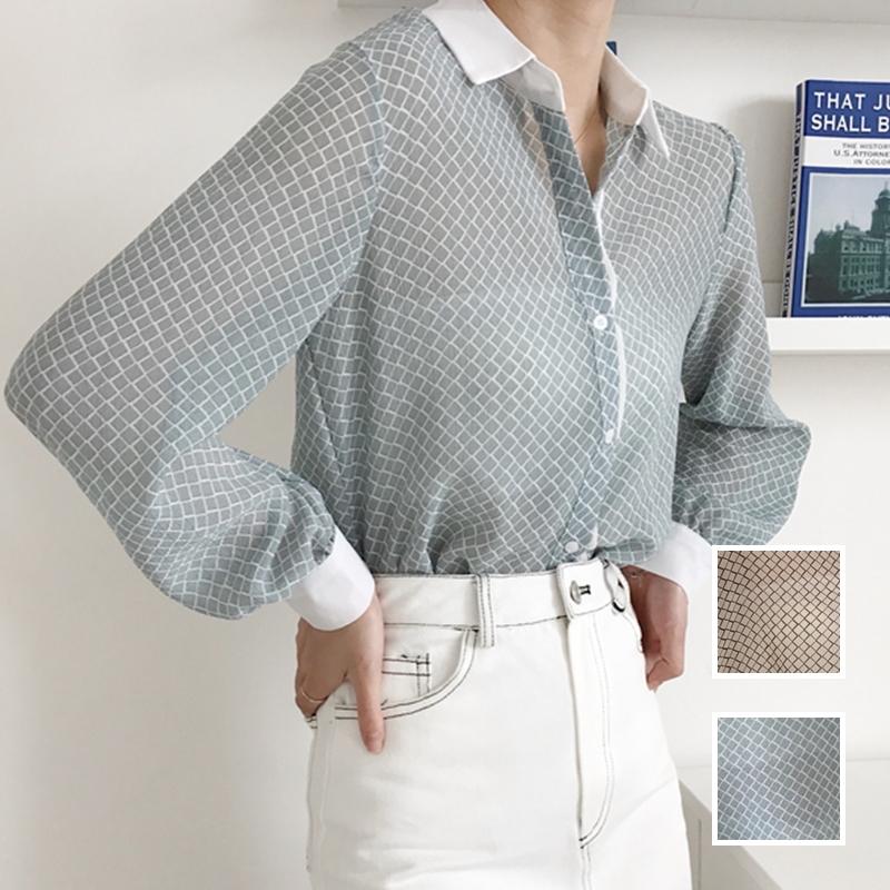 韓国 ファッション トップス ブラウス シャツ 夏 春 カジュアル PTXA777  幾何学模様 シアー シースルー とろみ素材 オフィス オルチャン シンプル 定番 セレカジの写真1枚目