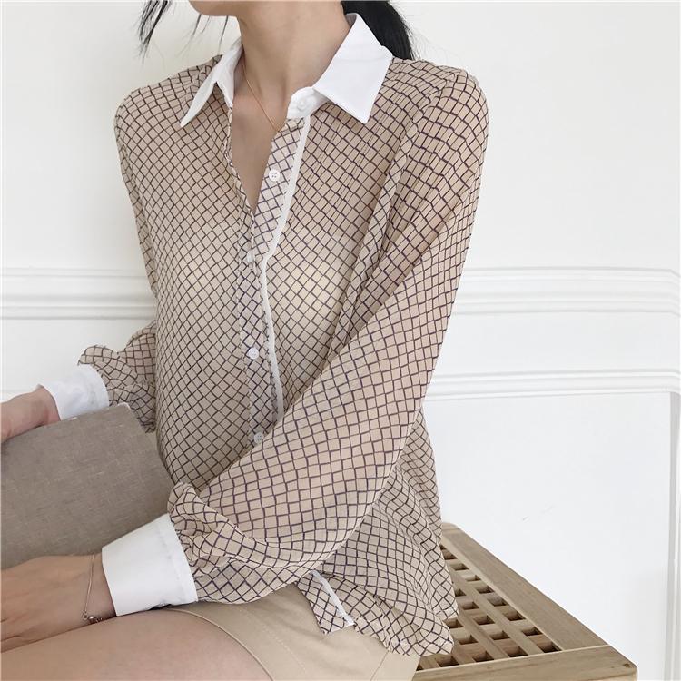 韓国 ファッション トップス ブラウス シャツ 夏 春 カジュアル PTXA777  幾何学模様 シアー シースルー とろみ素材 オフィス オルチャン シンプル 定番 セレカジの写真6枚目
