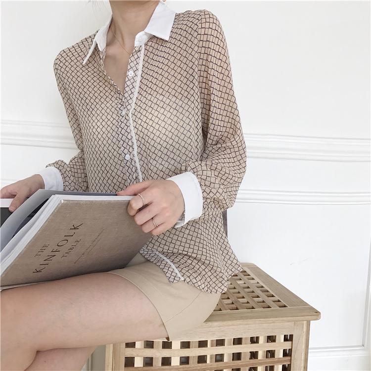 韓国 ファッション トップス ブラウス シャツ 夏 春 カジュアル PTXA777  幾何学模様 シアー シースルー とろみ素材 オフィス オルチャン シンプル 定番 セレカジの写真7枚目