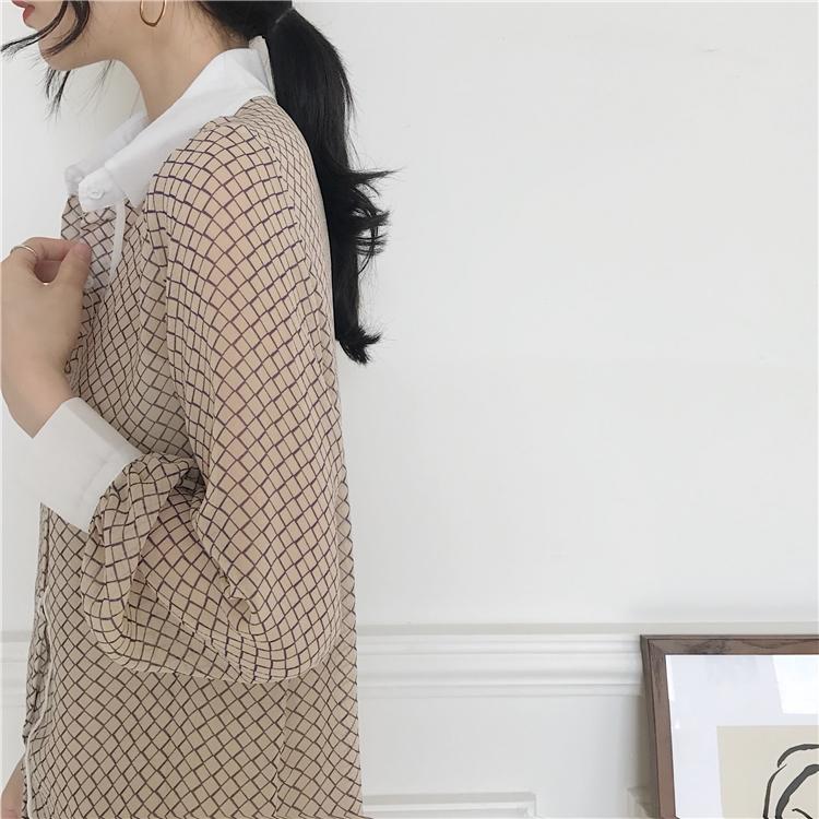 韓国 ファッション トップス ブラウス シャツ 夏 春 カジュアル PTXA777  幾何学模様 シアー シースルー とろみ素材 オフィス オルチャン シンプル 定番 セレカジの写真9枚目