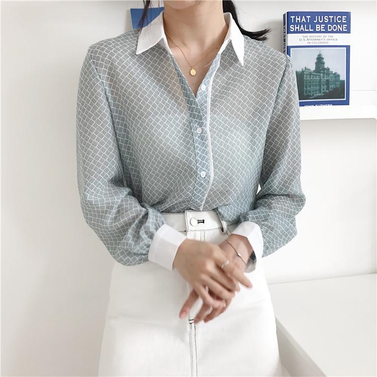 韓国 ファッション トップス ブラウス シャツ 夏 春 カジュアル PTXA777  幾何学模様 シアー シースルー とろみ素材 オフィス オルチャン シンプル 定番 セレカジの写真13枚目