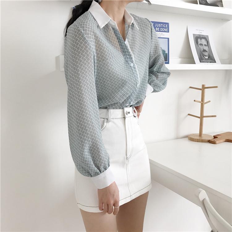 韓国 ファッション トップス ブラウス シャツ 夏 春 カジュアル PTXA777  幾何学模様 シアー シースルー とろみ素材 オフィス オルチャン シンプル 定番 セレカジの写真14枚目