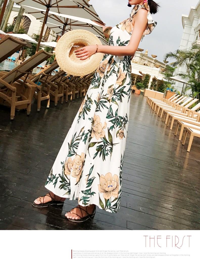【即納】リゾートワンピース ロング マキシ ハワイ お出かけワンピ 春 夏 リゾート パーティー SPTXA838  マキシワンピース フリル カットオフ セパレート風  オルチャン セレブ セクシーの写真7枚目