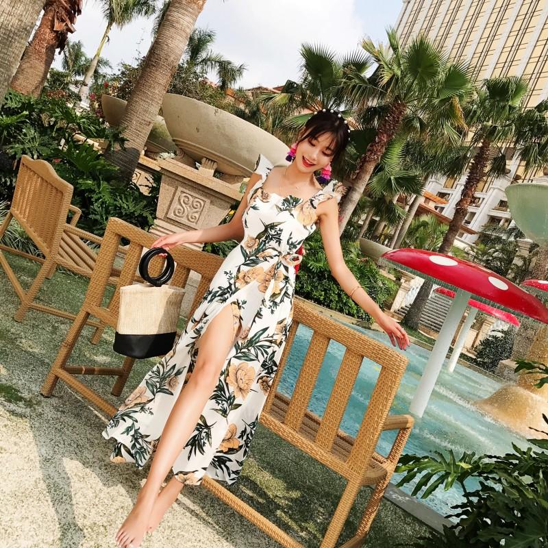 【即納】リゾートワンピース ロング マキシ ハワイ お出かけワンピ 春 夏 リゾート パーティー SPTXA838  マキシワンピース フリル カットオフ セパレート風  オルチャン セレブ セクシーの写真10枚目