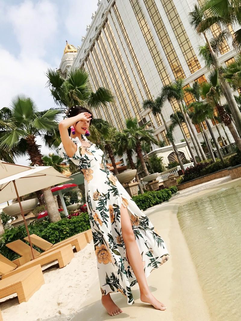 【即納】リゾートワンピース ロング マキシ ハワイ お出かけワンピ 春 夏 リゾート パーティー SPTXA838  マキシワンピース フリル カットオフ セパレート風  オルチャン セレブ セクシーの写真11枚目