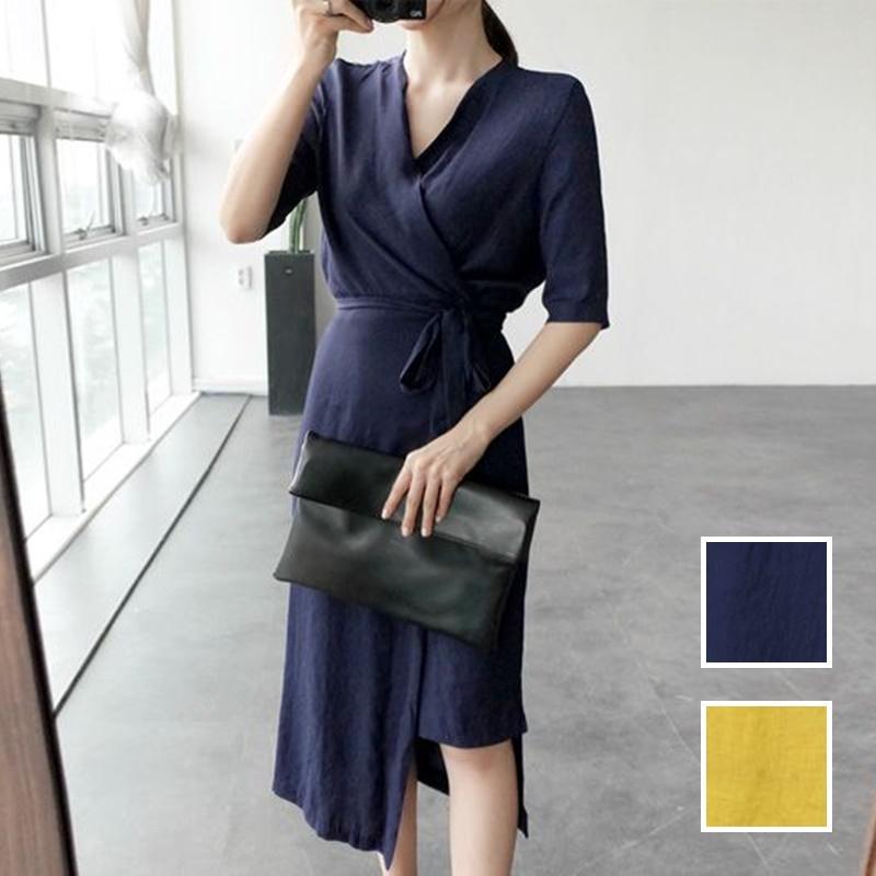 韓国 ファッション ワンピース 春 夏 カジュアル PTXB239  アシンメトリー ウエストマーク ラップ タイト オフィス パーティー オルチャン シンプル 定番 セレカジの写真1枚目