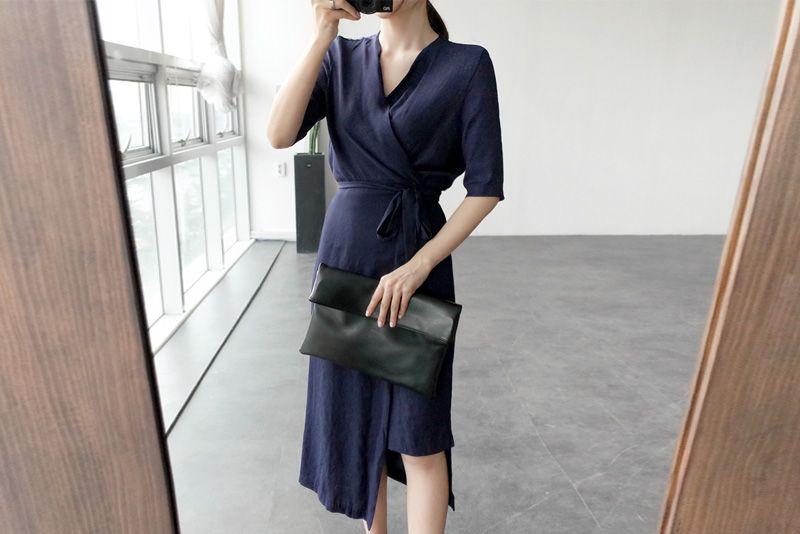 韓国 ファッション ワンピース 春 夏 カジュアル PTXB239  アシンメトリー ウエストマーク ラップ タイト オフィス パーティー オルチャン シンプル 定番 セレカジの写真2枚目