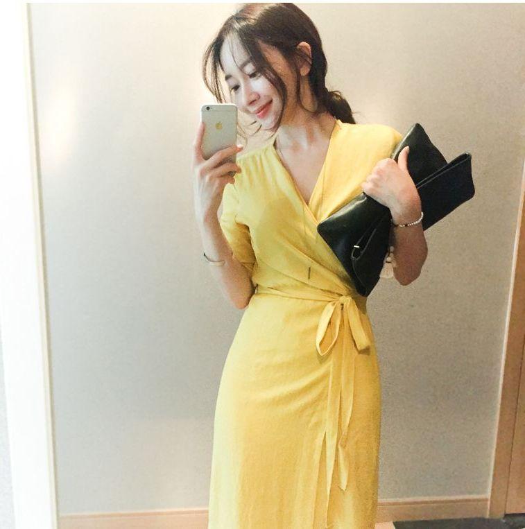 韓国 ファッション ワンピース 春 夏 カジュアル PTXB239  アシンメトリー ウエストマーク ラップ タイト オフィス パーティー オルチャン シンプル 定番 セレカジの写真3枚目