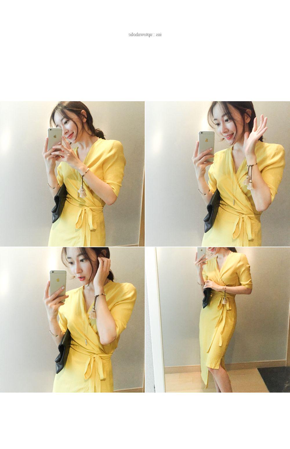 韓国 ファッション ワンピース 春 夏 カジュアル PTXB239  アシンメトリー ウエストマーク ラップ タイト オフィス パーティー オルチャン シンプル 定番 セレカジの写真5枚目