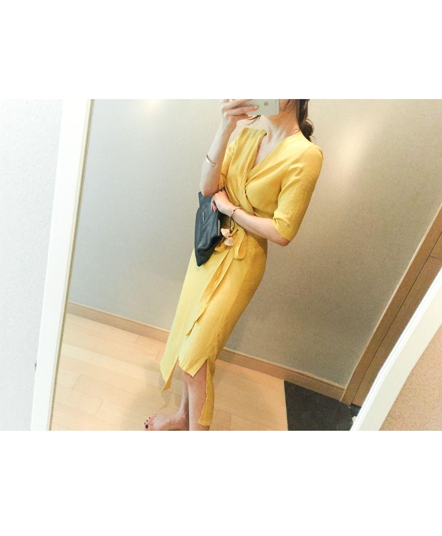 韓国 ファッション ワンピース 春 夏 カジュアル PTXB239  アシンメトリー ウエストマーク ラップ タイト オフィス パーティー オルチャン シンプル 定番 セレカジの写真6枚目