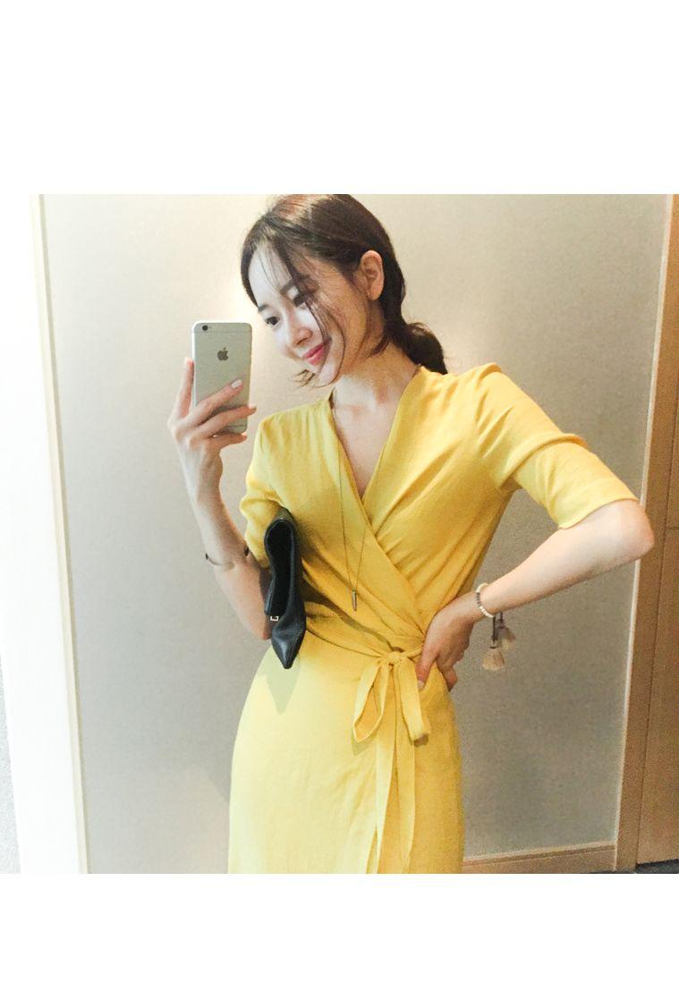 韓国 ファッション ワンピース 春 夏 カジュアル PTXB239  アシンメトリー ウエストマーク ラップ タイト オフィス パーティー オルチャン シンプル 定番 セレカジの写真7枚目