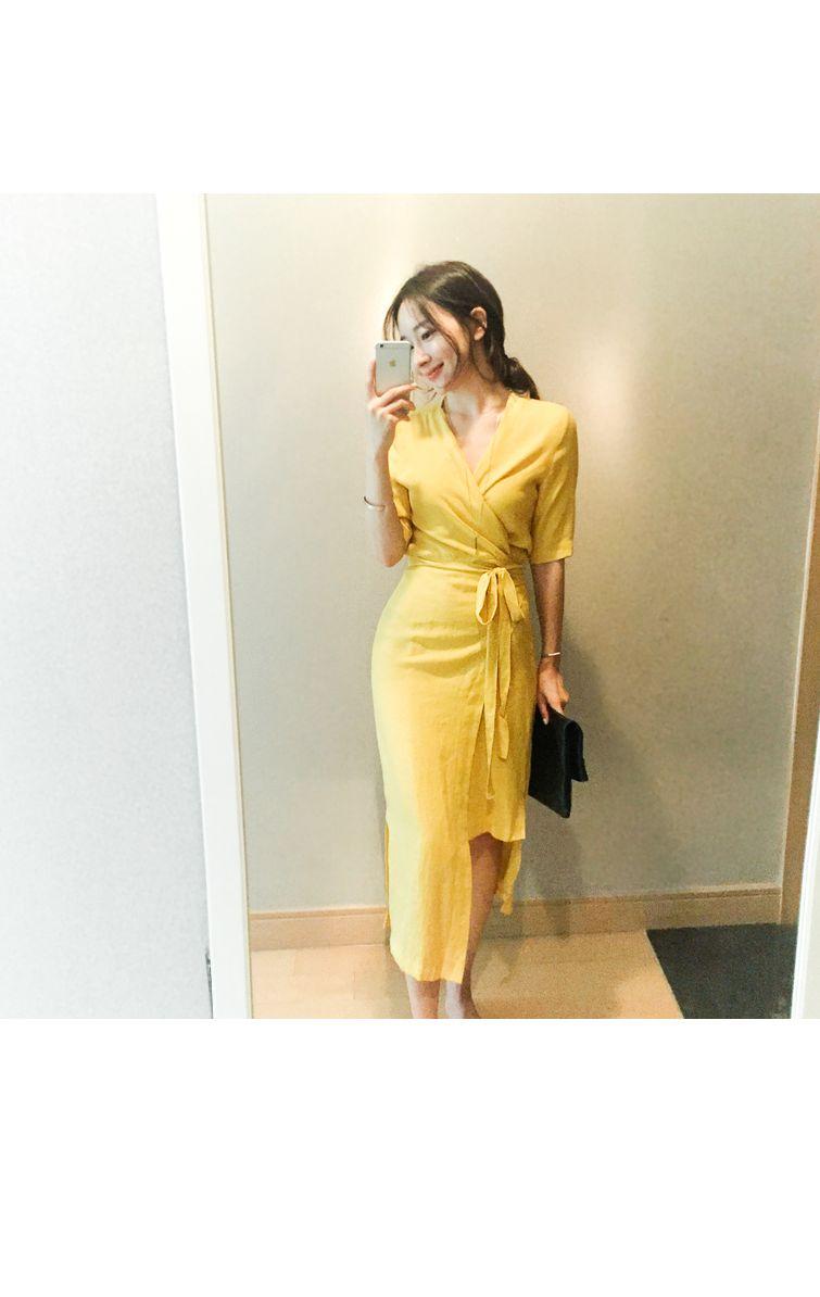 韓国 ファッション ワンピース 春 夏 カジュアル PTXB239  アシンメトリー ウエストマーク ラップ タイト オフィス パーティー オルチャン シンプル 定番 セレカジの写真8枚目