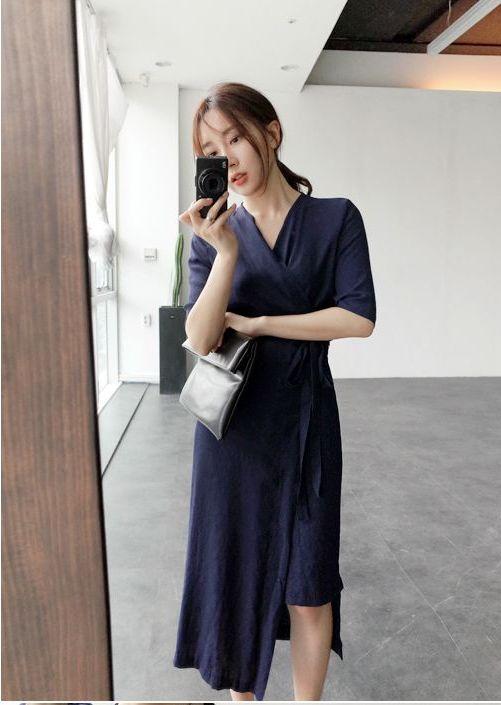 韓国 ファッション ワンピース 春 夏 カジュアル PTXB239  アシンメトリー ウエストマーク ラップ タイト オフィス パーティー オルチャン シンプル 定番 セレカジの写真9枚目