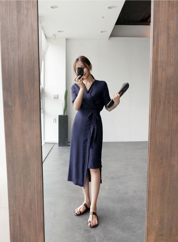 韓国 ファッション ワンピース 春 夏 カジュアル PTXB239  アシンメトリー ウエストマーク ラップ タイト オフィス パーティー オルチャン シンプル 定番 セレカジの写真10枚目