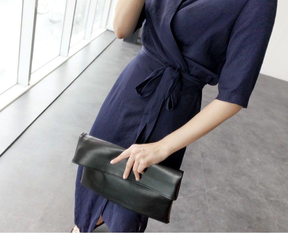 韓国 ファッション ワンピース 春 夏 カジュアル PTXB239  アシンメトリー ウエストマーク ラップ タイト オフィス パーティー オルチャン シンプル 定番 セレカジの写真11枚目
