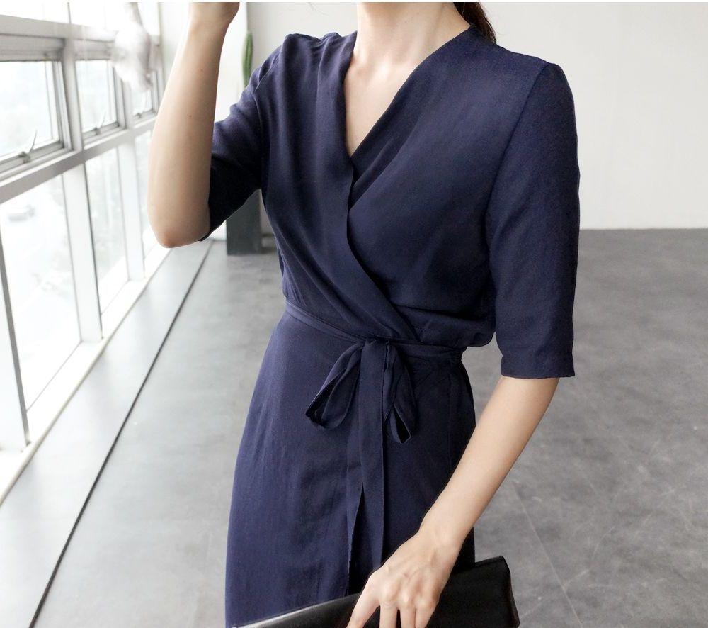 韓国 ファッション ワンピース 春 夏 カジュアル PTXB239  アシンメトリー ウエストマーク ラップ タイト オフィス パーティー オルチャン シンプル 定番 セレカジの写真13枚目