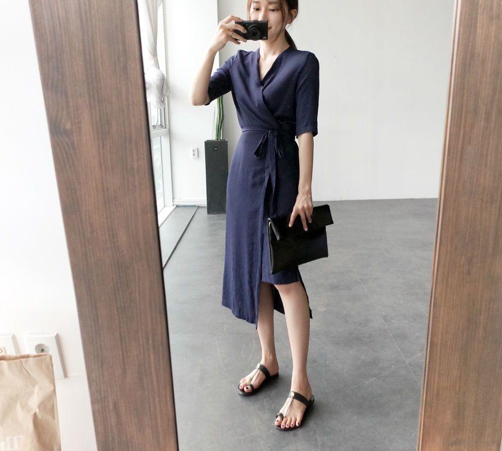 韓国 ファッション ワンピース 春 夏 カジュアル PTXB239  アシンメトリー ウエストマーク ラップ タイト オフィス パーティー オルチャン シンプル 定番 セレカジの写真14枚目